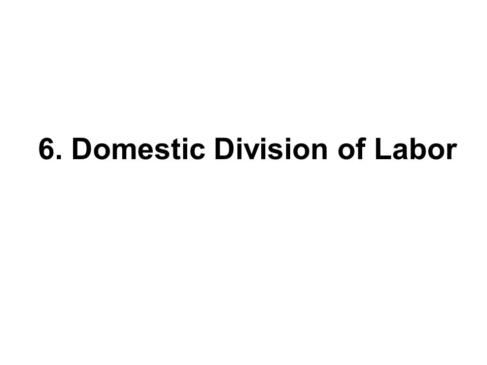 6. Domestic Division of Labor
