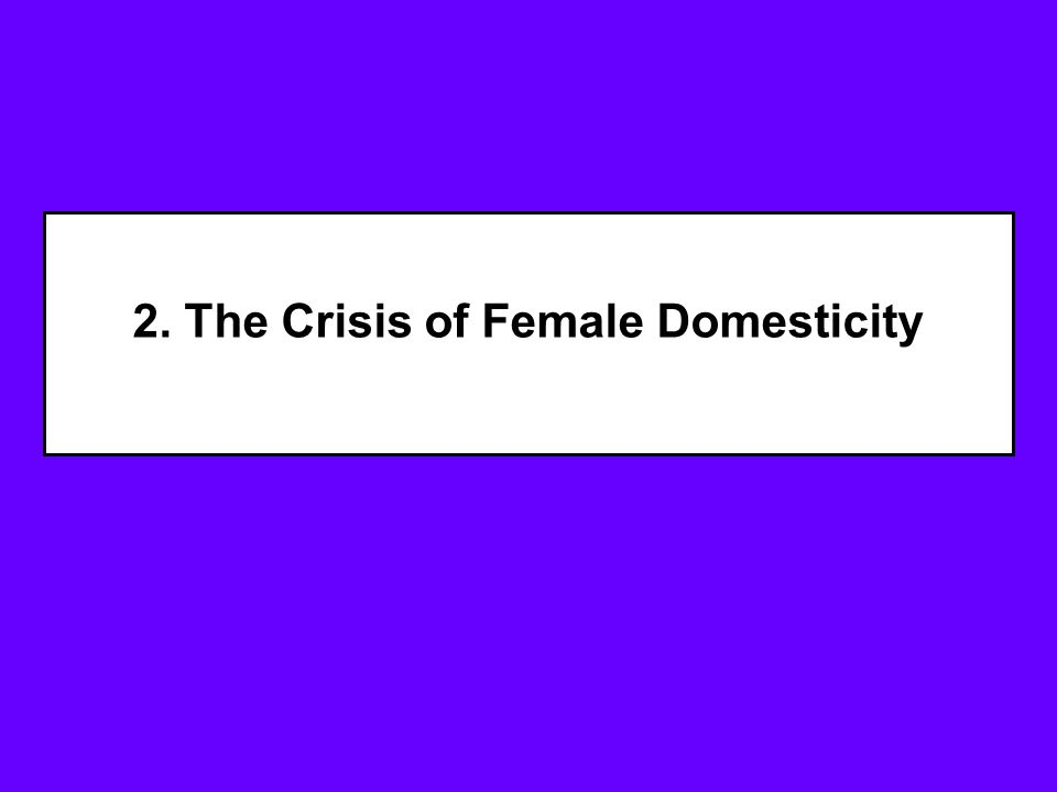 2. The Crisis of Female Domesticity
