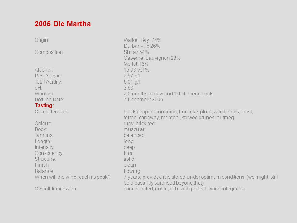 2005 Die Martha Origin:Walker Bay 74% Durbanville 26% Composition:Shiraz 54% Cabernet Sauvignon 28% Merlot 18% Alcohol:15.03 vol % Res.