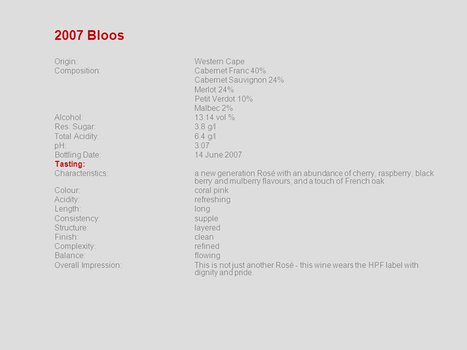 2007 Bloos Origin:Western Cape Composition: Cabernet Franc 40% Cabernet Sauvignon 24% Merlot 24% Petit Verdot 10% Malbec 2% Alcohol:13.14 vol % Res.