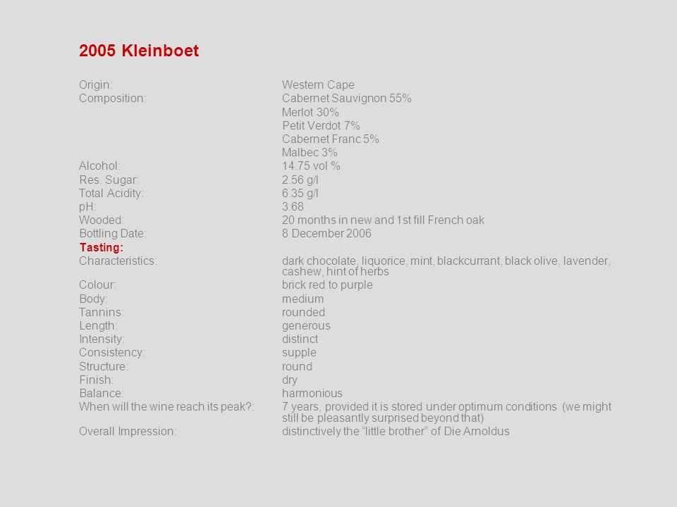 2005 Kleinboet Origin:Western Cape Composition:Cabernet Sauvignon 55% Merlot 30% Petit Verdot 7% Cabernet Franc 5% Malbec 3% Alcohol:14.75 vol % Res.