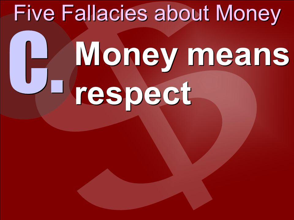Five Fallacies about Money D. Money means power
