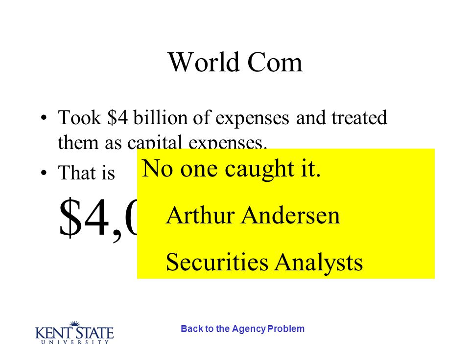 Back to the Agency Problem World Com Took $4 billion of expenses and treated them as capital expenses.