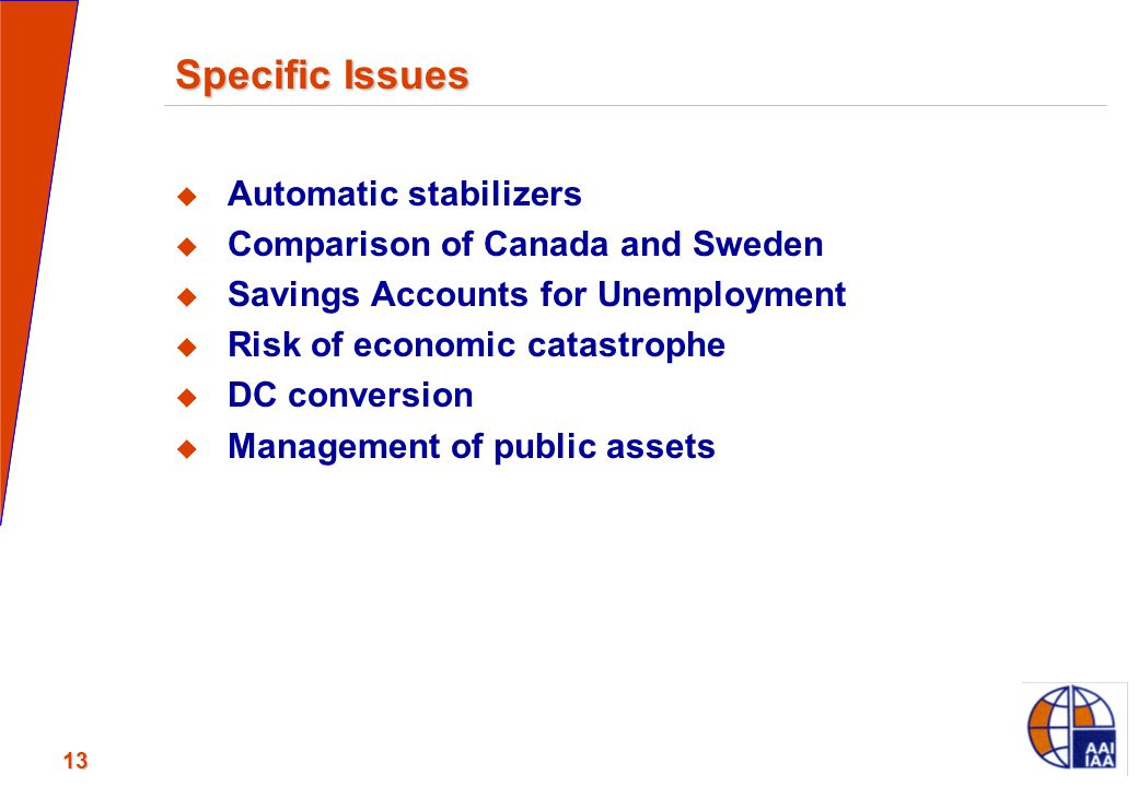 13 Specific Issues  Automatic stabilizers  Comparison of Canada and Sweden  Savings Accounts for Unemployment  Risk of economic catastrophe  DC c