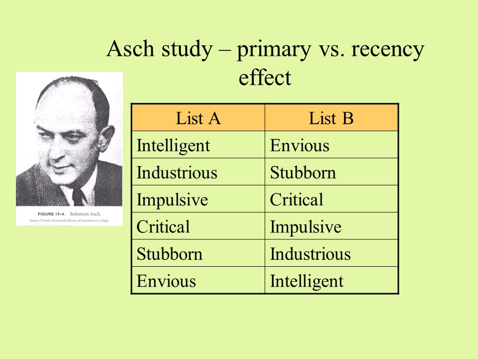 Other effects in person perception Primacy / recency Information set effect Evaluation effects –Polarization effect: more extreme evaluations influence general impression more –Negativity effect: Negative evaluations influence general impression more than positive evaluations –Positivity effect Positive evaluations influence general impression more than negative evaluations