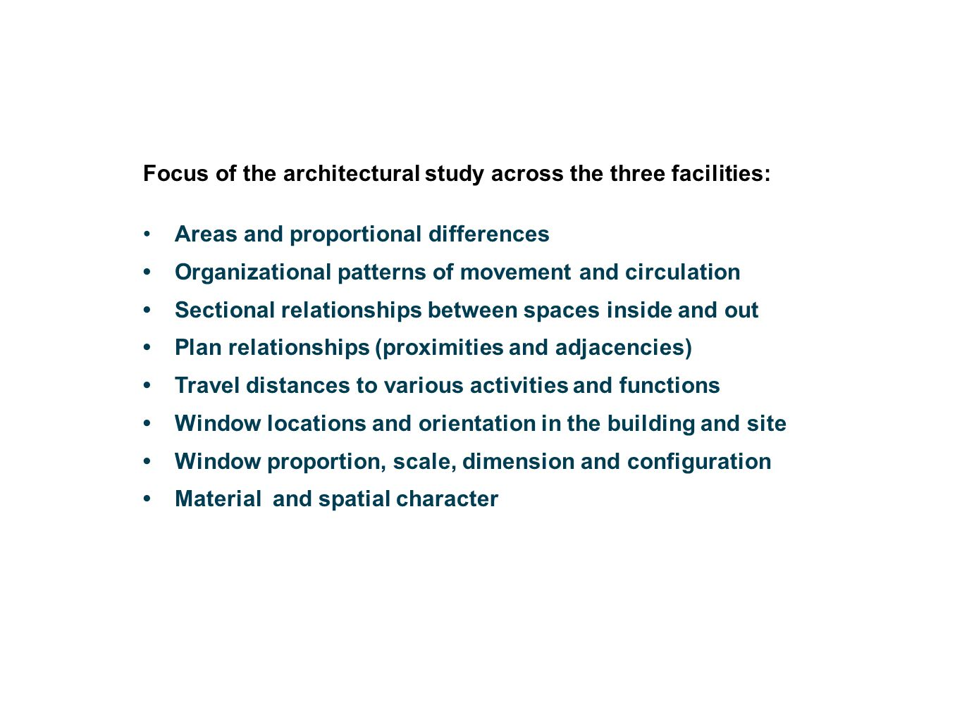 Focus of the architectural study across the three facilities: Areas and proportional differences Organizational patterns of movement and circulation S