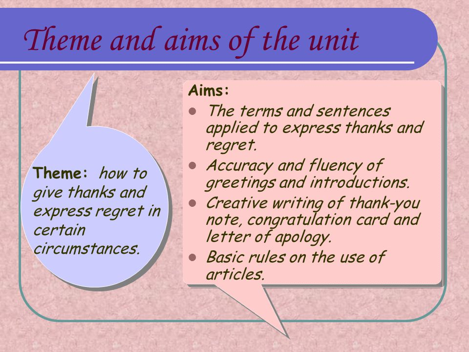 Aims: The terms and sentences applied to express thanks and regret.
