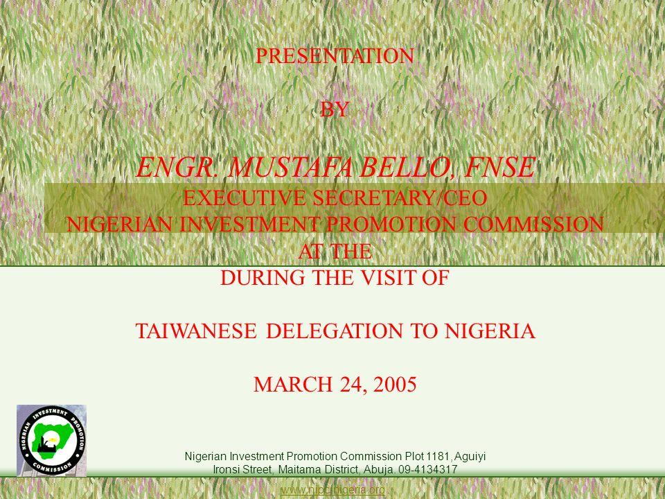 Nigerian Investment Promotion Commission Plot 1181, Aguiyi Ironsi Street, Maitama District, Abuja.