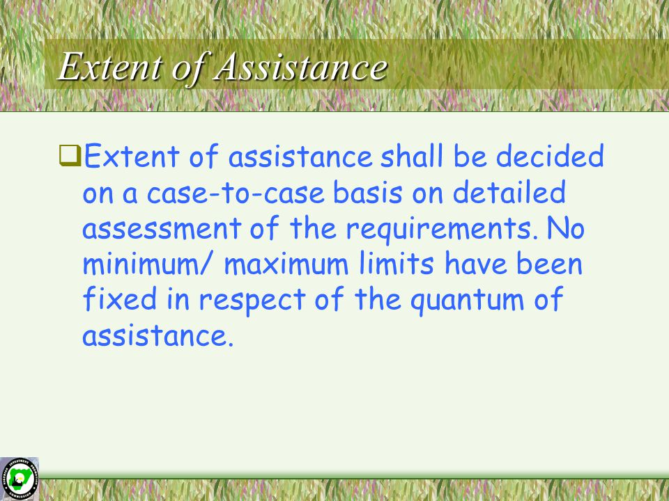 Extent of Assistance  Extent of assistance shall be decided on a case-to-case basis on detailed assessment of the requirements.