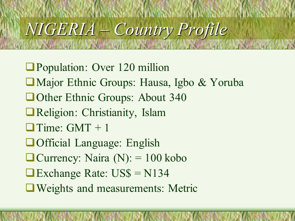 NIGERIA – Country Profile  Population: Over 120 million  Major Ethnic Groups: Hausa, Igbo & Yoruba  Other Ethnic Groups: About 340  Religion: Christianity, Islam  Time: GMT + 1  Official Language: English  Currency: Naira (N): = 100 kobo  Exchange Rate: US$ = N134  Weights and measurements: Metric