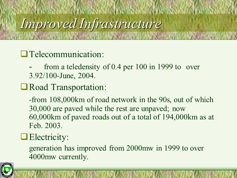 Improved Infrastructure  Telecommunication: - from a teledensity of 0.4 per 100 in 1999 to over 3.92/100-June, 2004.