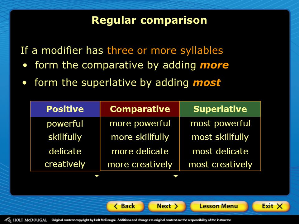 form the comparative by adding more Superlative most powerful most skillfully most delicate most creatively Comparative more powerful more skillfully