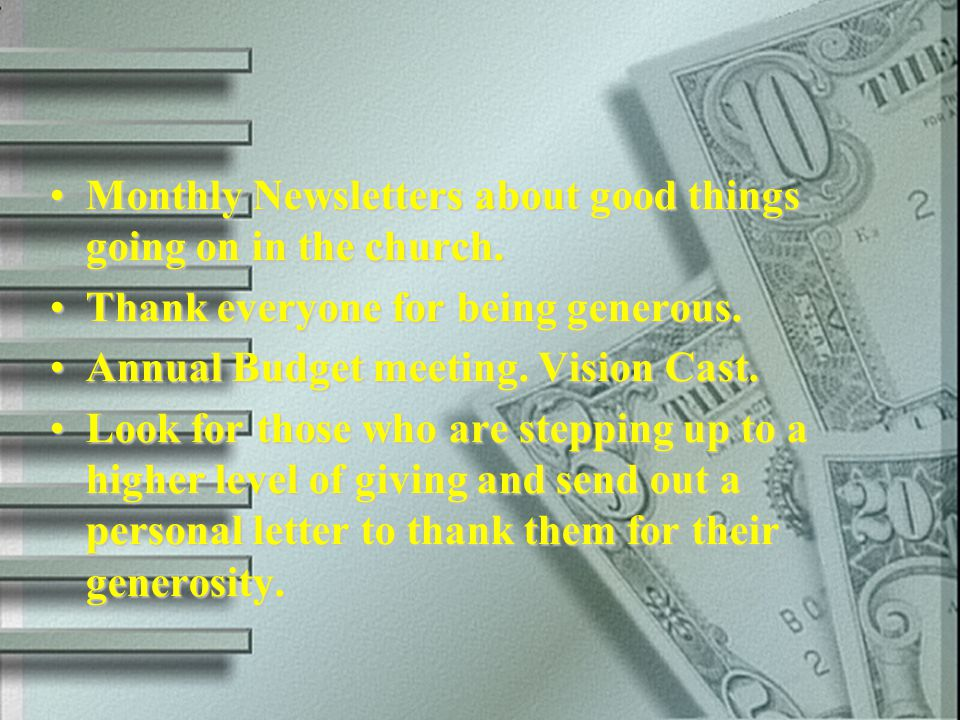 Monthly Newsletters about good things going on in the church.Monthly Newsletters about good things going on in the church. Thank everyone for being ge