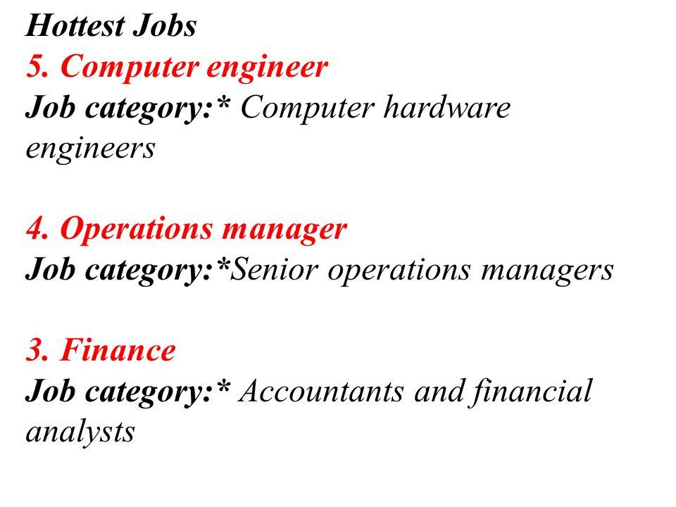 Hottest Jobs 5. Computer engineer Job category:* Computer hardware engineers 4.