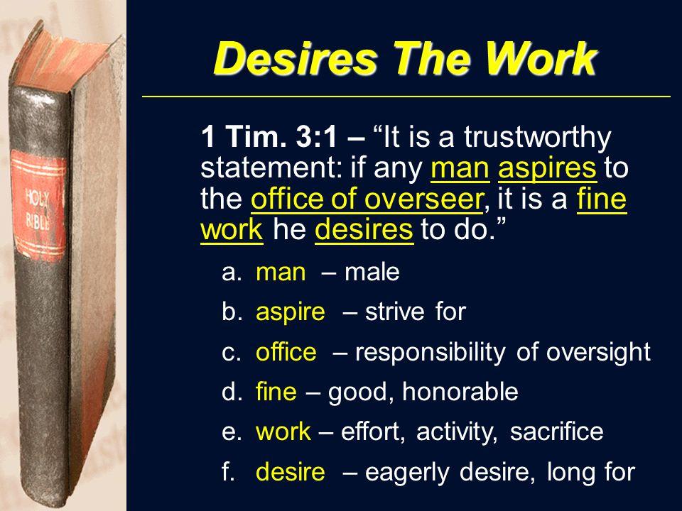 Desires The Work 1 Tim.