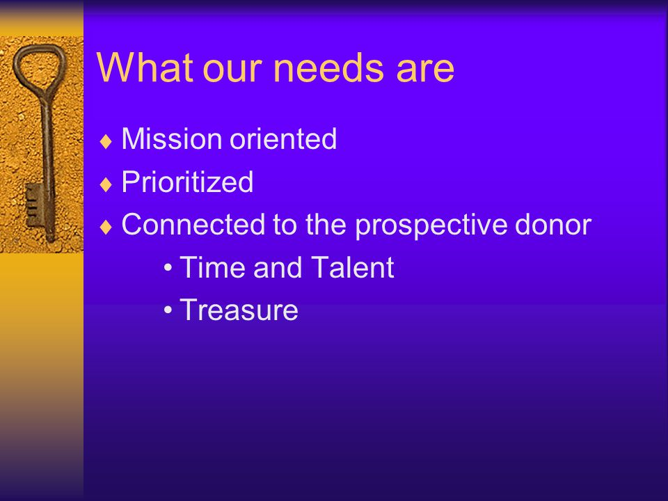 What our needs are  Mission oriented  Prioritized  Connected to the prospective donor Time and Talent Treasure