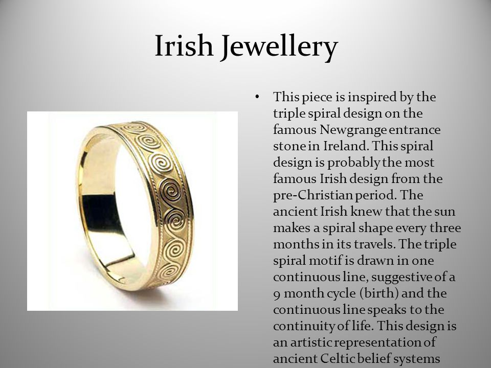 Irish Jewellery This piece is inspired by the triple spiral design on the famous Newgrange entrance stone in Ireland.