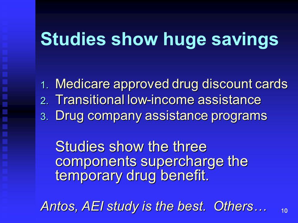 10 Studies show huge savings 1. Medicare approved drug discount cards 2.