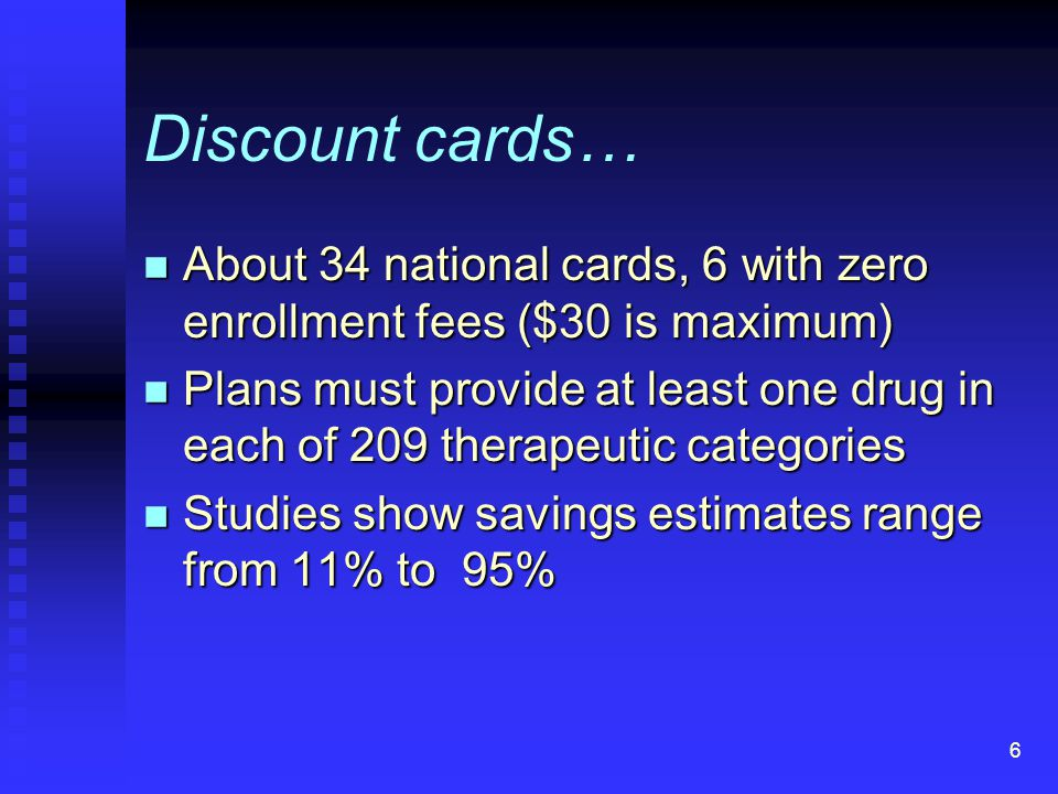 6 Discount cards… n About 34 national cards, 6 with zero enrollment fees ($30 is maximum) n Plans must provide at least one drug in each of 209 therapeutic categories n Studies show savings estimates range from 11% to 95%