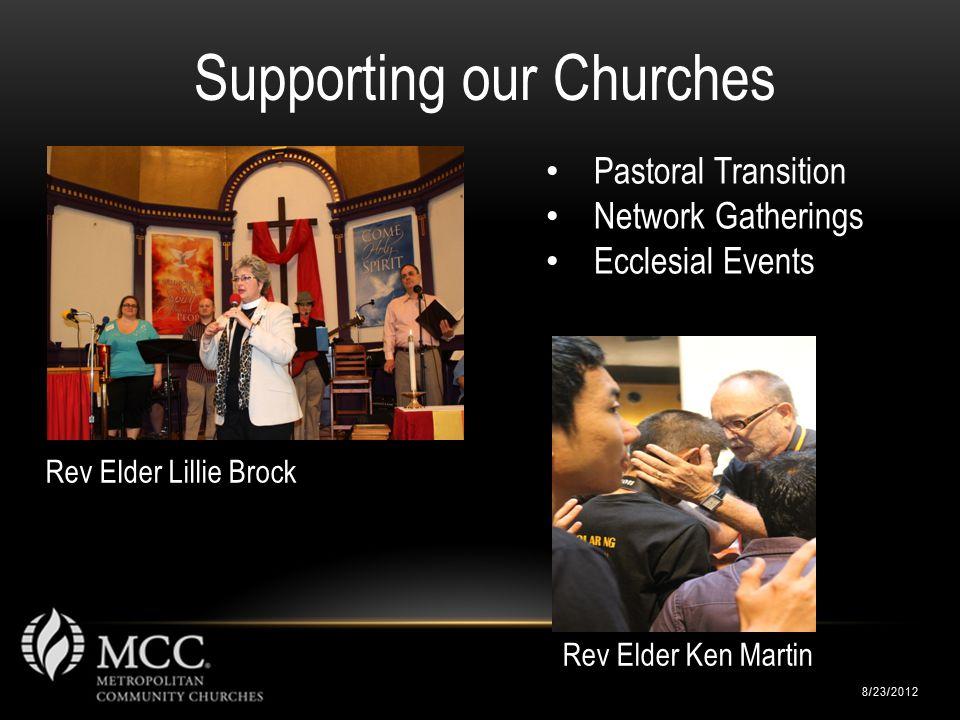 Rev Elder Lillie Brock 8/23/2012 Supporting our Churches Pastoral Transition Network Gatherings Ecclesial Events Rev Elder Ken Martin