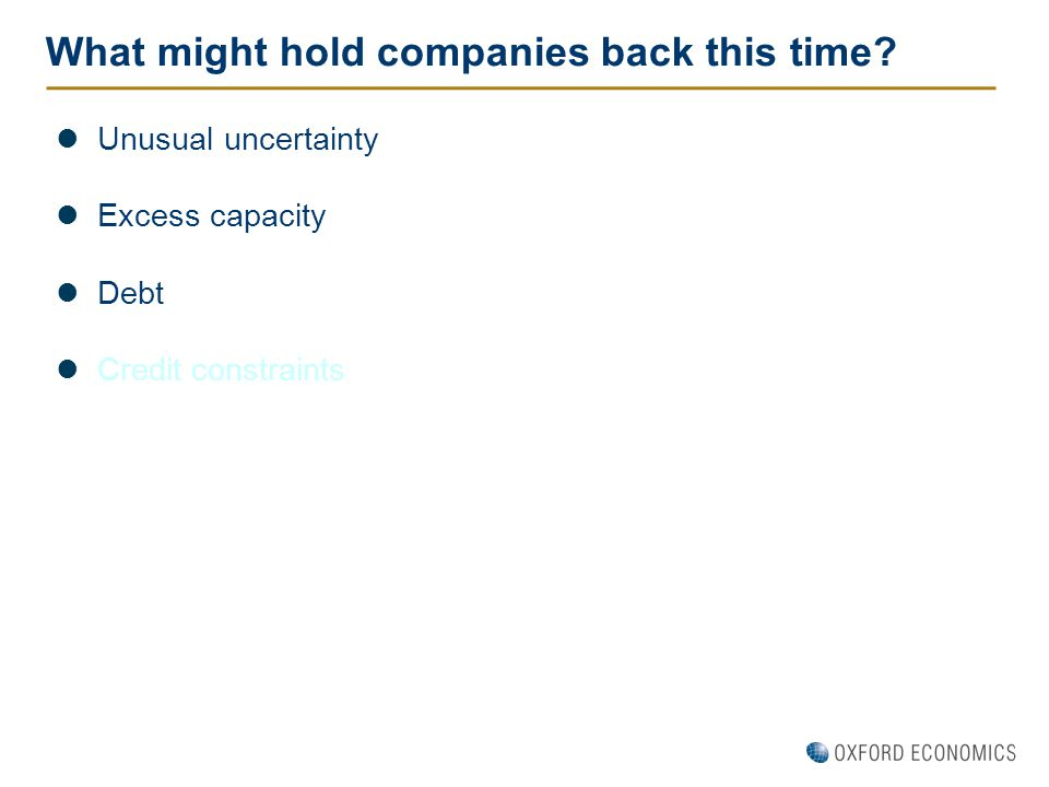 What might hold companies back this time? Unusual uncertainty Excess capacity Debt Credit constraints