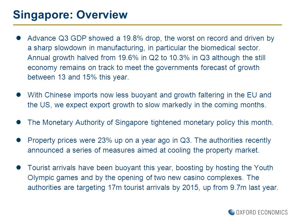 Singapore: Overview Advance Q3 GDP showed a 19.8% drop, the worst on record and driven by a sharp slowdown in manufacturing, in particular the biomedi