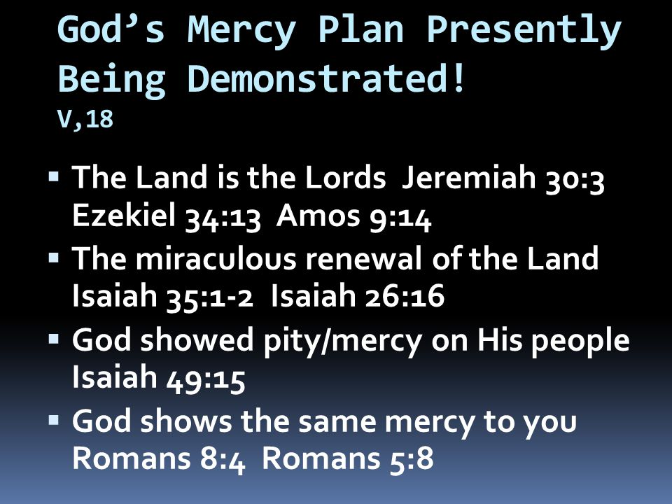 God's Mercy Plan Presently Being Demonstrated.