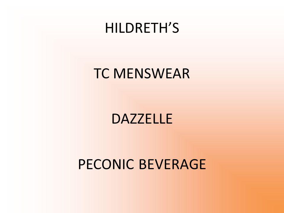 HILDRETH'S TC MENSWEAR DAZZELLE PECONIC BEVERAGE