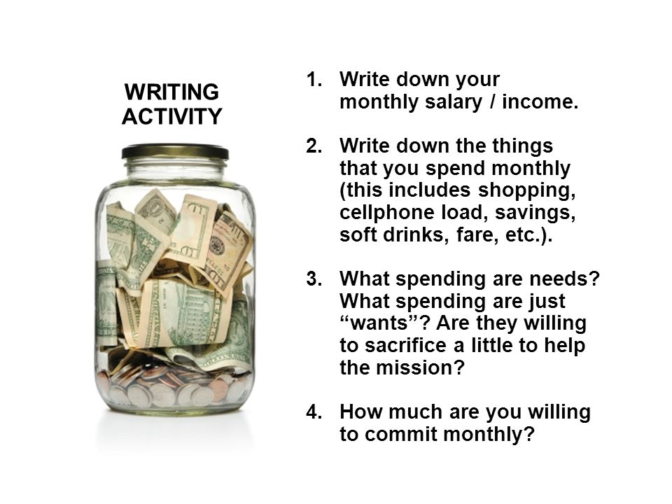 WRITING ACTIVITY 1.Write down your monthly salary / income.
