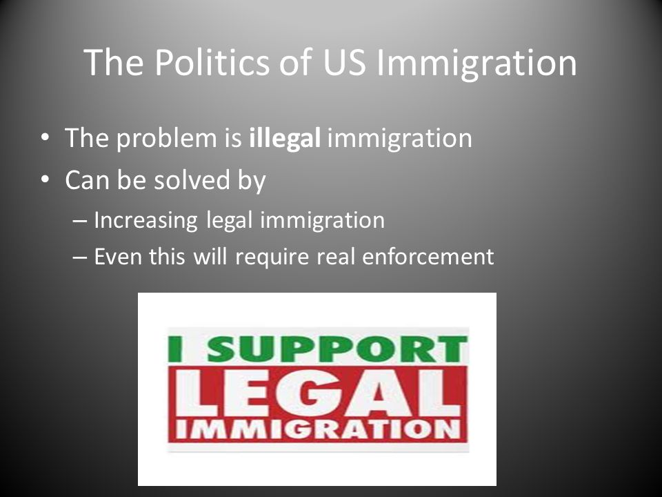The Politics of US Immigration The problem is illegal immigration Can be solved by – Increasing legal immigration – Even this will require real enforc