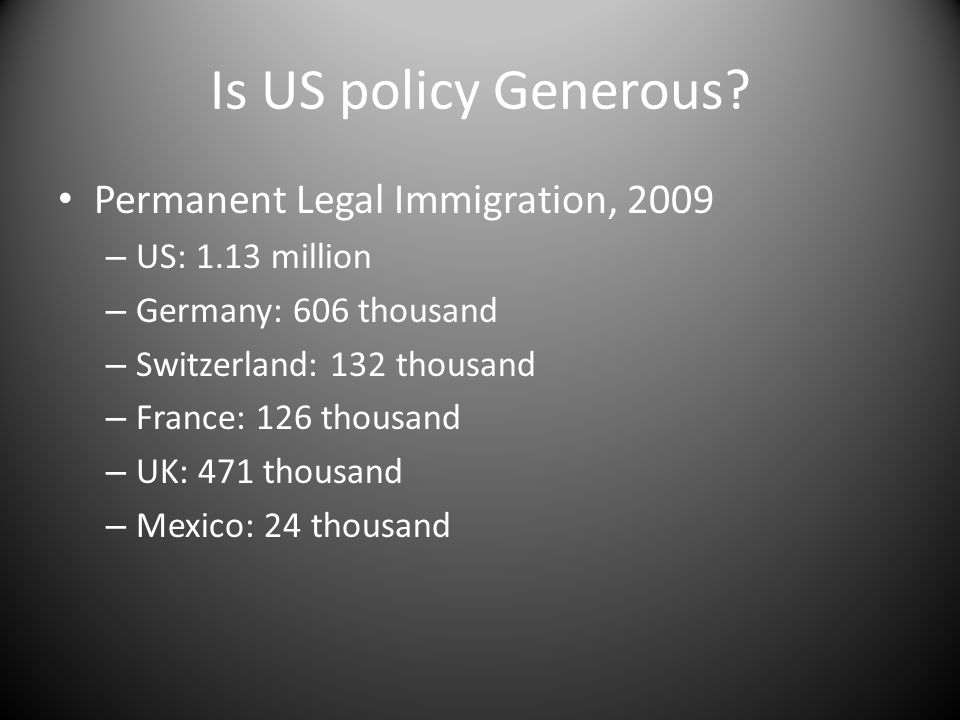 Is US policy Generous? Permanent Legal Immigration, 2009 – US: 1.13 million – Germany: 606 thousand – Switzerland: 132 thousand – France: 126 thousand