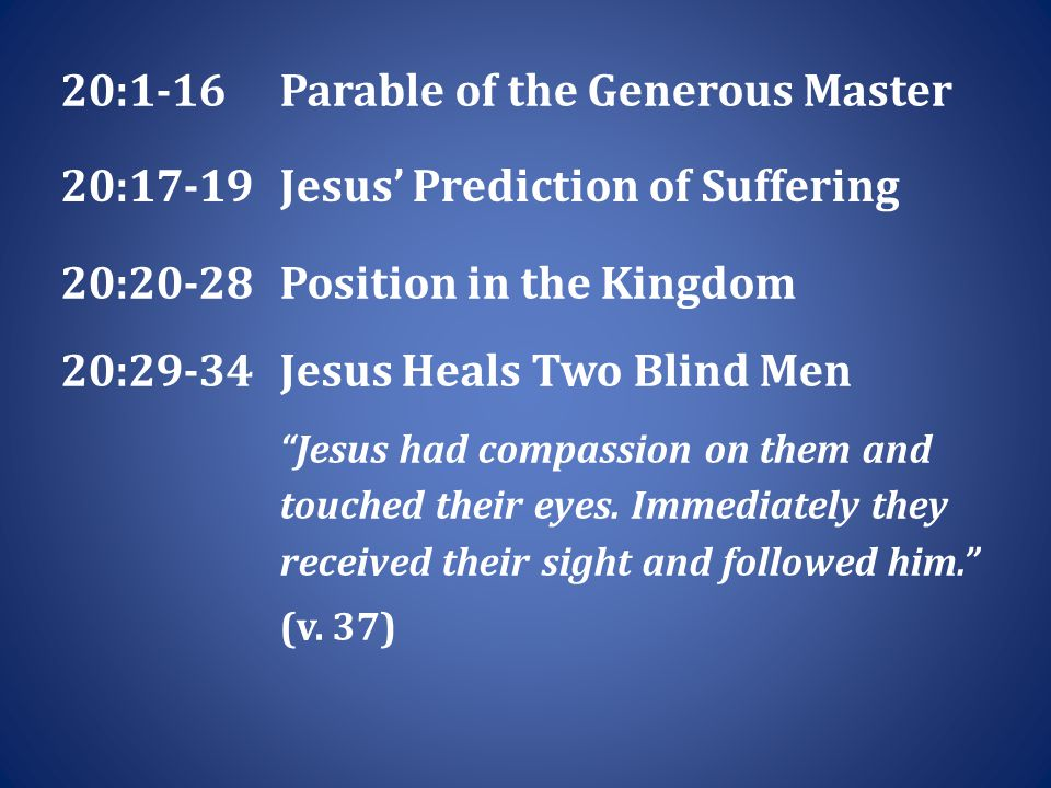 20:1-16Parable of the Generous Master 20:17-19Jesus' Prediction of Suffering 20:20-28Position in the Kingdom 20:29-34Jesus Heals Two Blind Men Jesus had compassion on them and touched their eyes.