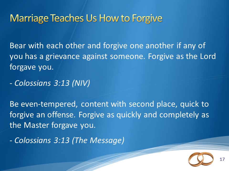 17 Bear with each other and forgive one another if any of you has a grievance against someone.