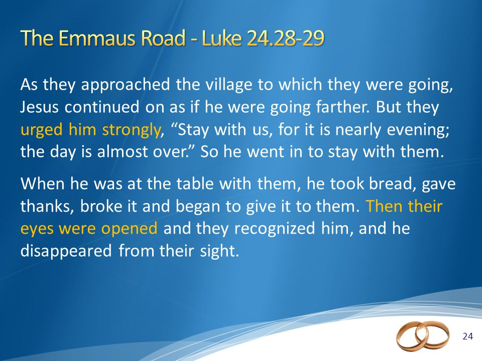 24 As they approached the village to which they were going, Jesus continued on as if he were going farther.