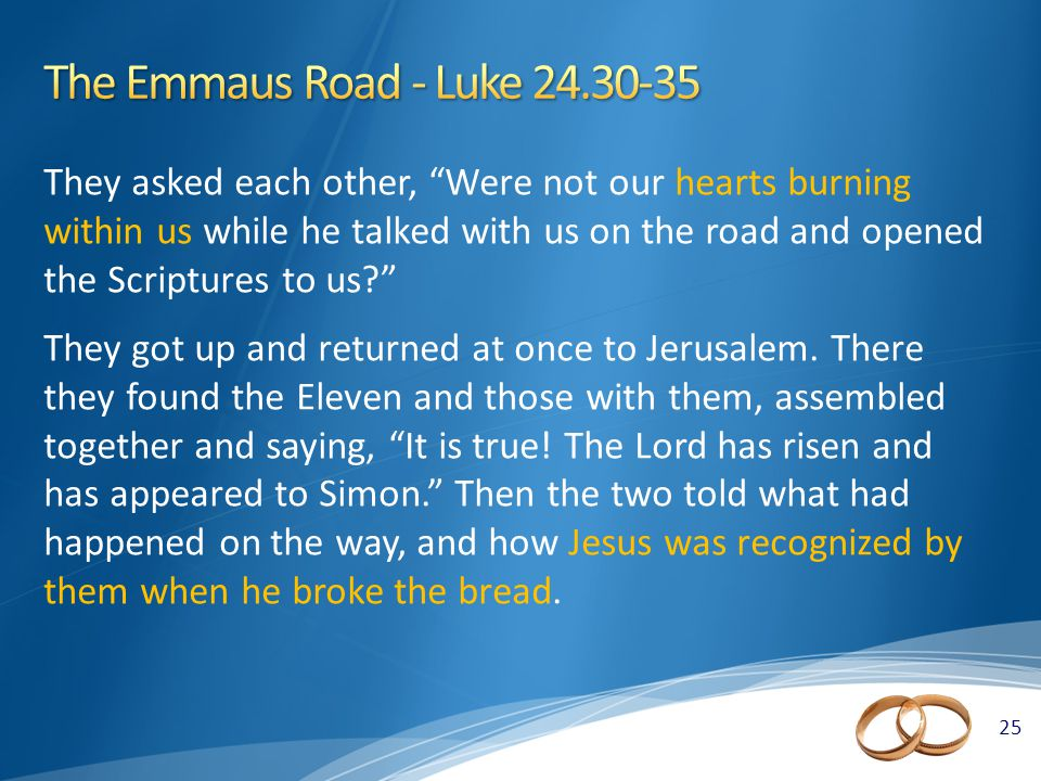 25 They asked each other, Were not our hearts burning within us while he talked with us on the road and opened the Scriptures to us They got up and returned at once to Jerusalem.