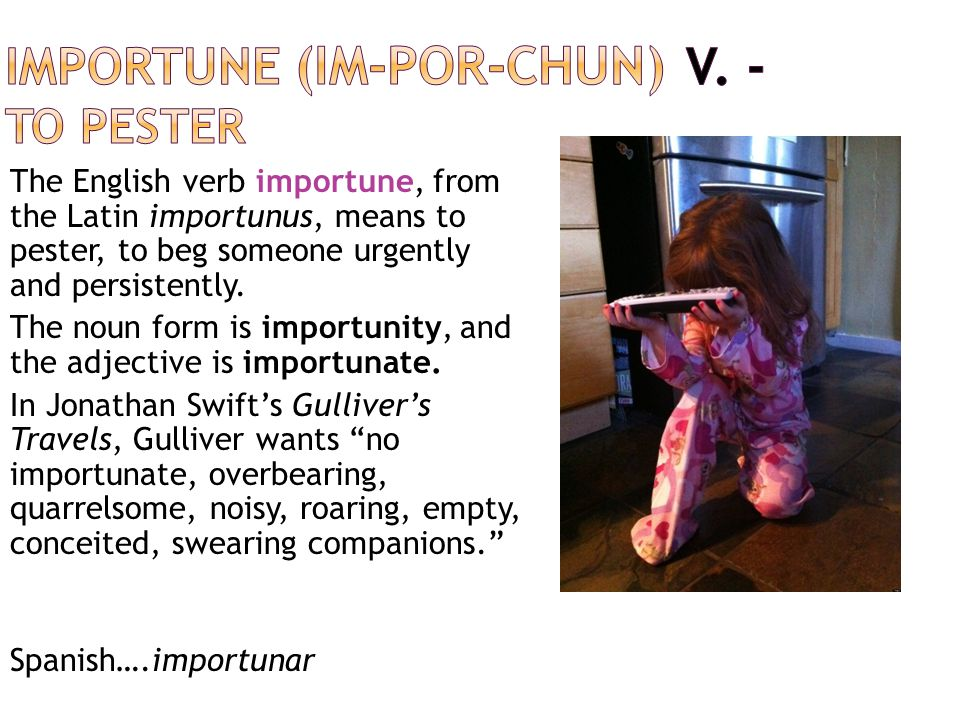 The English verb importune, from the Latin importunus, means to pester, to beg someone urgently and persistently. The noun form is importunity, and th