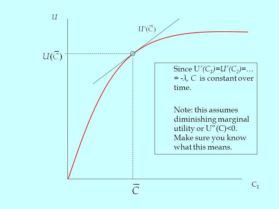 C1C1 U Since U '(C 1 )=U'(C 2 )=… = -λ, C is constant over time.