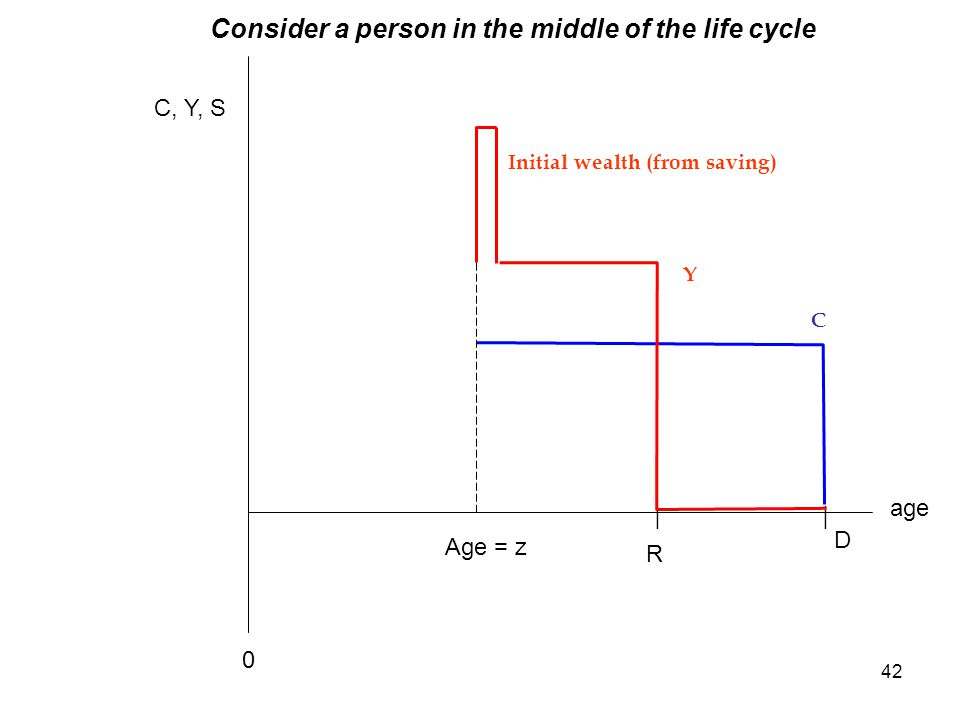 42 age C, Y, S Y R D || C 0 Initial wealth (from saving) Age = z Consider a person in the middle of the life cycle