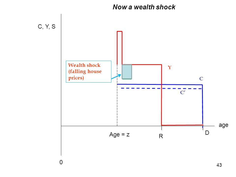 43 age C, Y, S Y R D || C 0 Wealth shock (falling house prices) Age = z Now a wealth shock C'