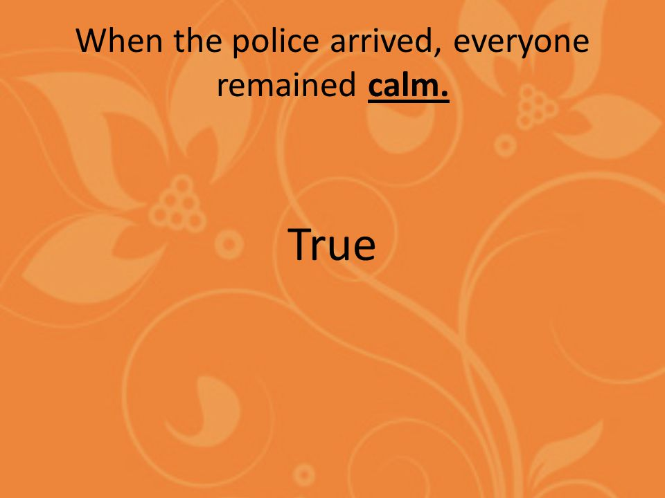 When the police arrived, everyone remained calm. True