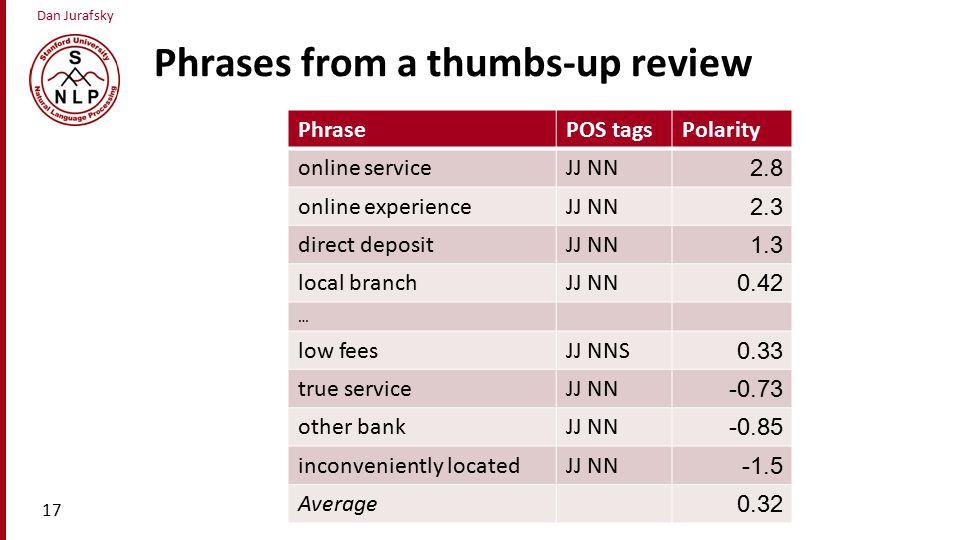 Dan Jurafsky Phrases from a thumbs-up review 17 PhrasePOS tagsPolarity online serviceJJ NN 2.8 online experienceJJ NN 2.3 direct depositJJ NN 1.3 local branchJJ NN 0.42 … low feesJJ NNS 0.33 true serviceJJ NN -0.73 other bankJJ NN -0.85 inconveniently locatedJJ NN -1.5 Average 0.32