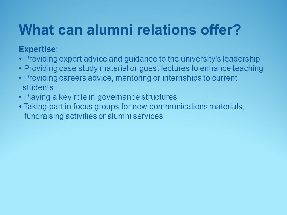 What can alumni relations offer.