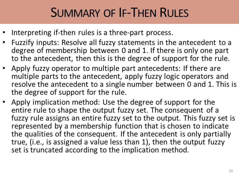 S UMMARY OF I F -T HEN R ULES Interpreting if-then rules is a three-part process.