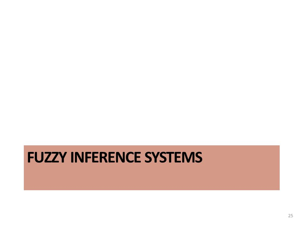 FUZZY INFERENCE SYSTEMS 25