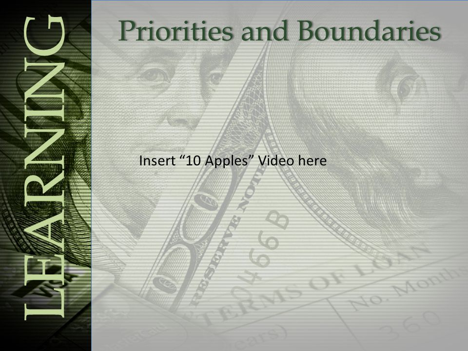 Priorities and BoundariesPriorities and Boundaries LEARNING Insert 10 Apples Video here