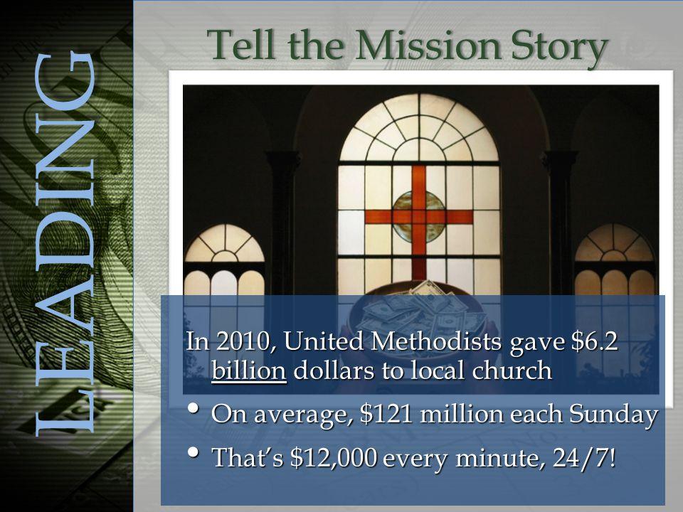 In 2010, United Methodists gave $6.2 billion dollars to local church On average, $121 million each Sunday On average, $121 million each Sunday That's $12,000 every minute, 24/7.