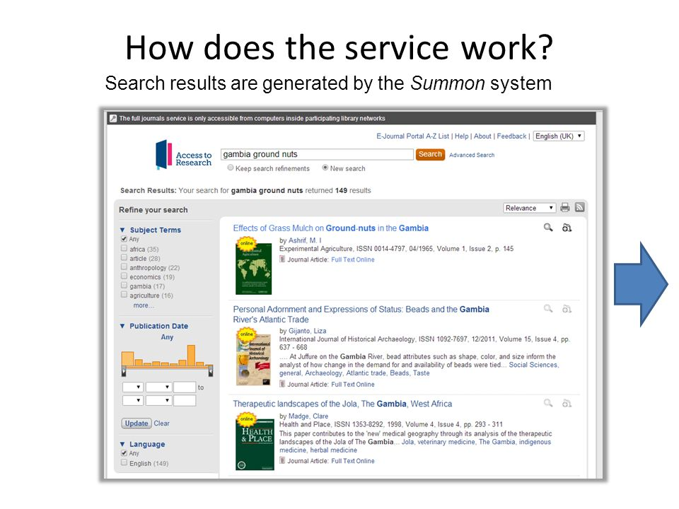 How does the service work Search results are generated by the Summon system