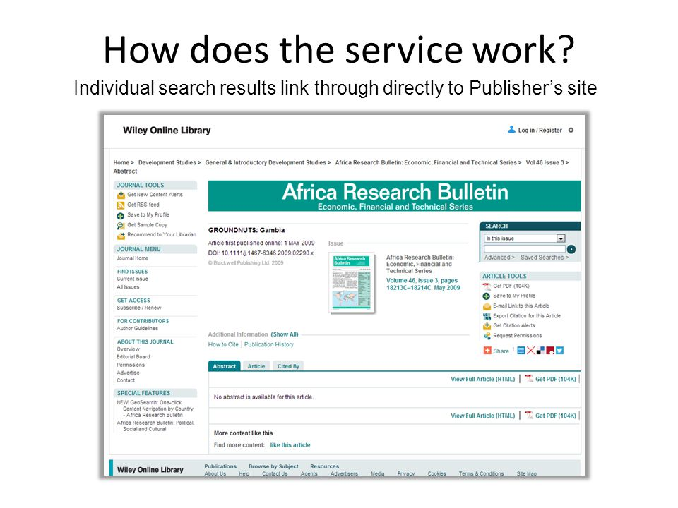 How does the service work Individual search results link through directly to Publisher's site