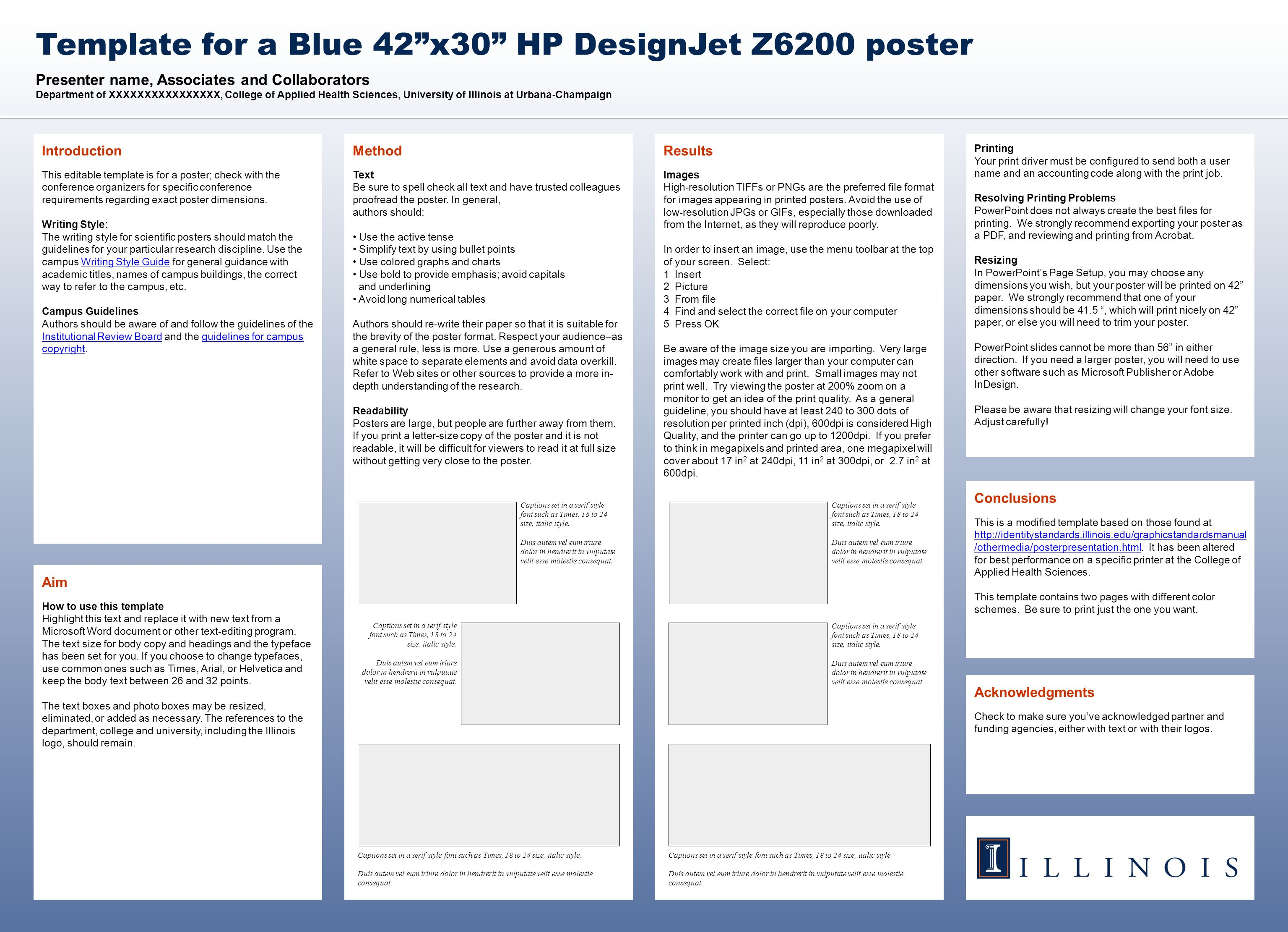 Presenter name, Associates and Collaborators Department of XXXXXXXXXXXXXXXX, College of Applied Health Sciences, University of Illinois at Urbana-Champaign Template for a Blue 42 x30 HP DesignJet Z6200 poster Acknowledgments Check to make sure you've acknowledged partner and funding agencies, either with text or with their logos.
