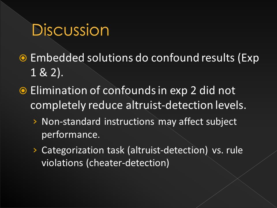  Embedded solutions do confound results (Exp 1 & 2).